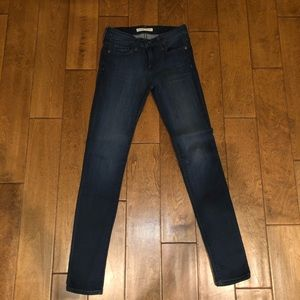 Dark blue washed Mid-rise skinny jeans